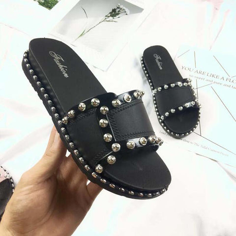 Fashion korean open toe flat slippers woman summer rivets all-match muffin sandals girls black/white/pink slides outing ladies - shoescraze