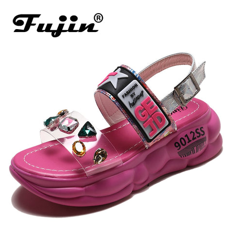 Fujin Shoes Platform Sandals Summer New Dropshipping European Women Sandal Muffin Station Side Air Tide Shoes Rhinestone Sandals - shoescraze