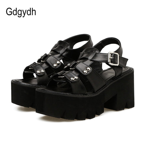 Gdgydh Chunky Heel Sandals Woman Platform Punk Shoes 2019 New Summer Open Toe Shoes Female Block Heel Fashion Rivet Discount - shoescraze