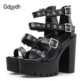 Gdgydh Square Heel Sandals Black Women Summer Shoes Sexy Rivets Ladies High Heels Shoes For Party Soft Leather Drop Shipping - shoescraze