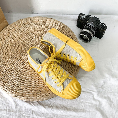 Girls Yellow Canvas Shoes Orange Sneakers Line Fabric 2019 Summer New All Match Bright Color Flat Heel Lace Up Women Autumn Shoe - shoescraze