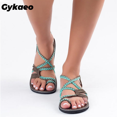 Gykaeo European and American Style Large Size Flat Soled Women Sandals 2019 Summer Roman Peep Toe Flat Sandalia Feminina Shoes - shoescraze