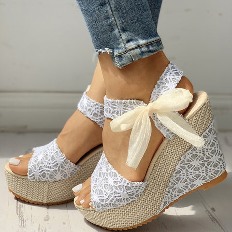 INS hot lace Leisure Women Wedges heeled women Shoes 2019 Summer Sandals Party Platform High Heels Shoes Woman - shoescraze