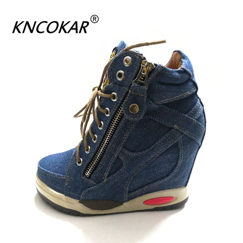 KNCOKA  Summer New Women's Comfortable Wedge Heels With Stylish And Simple Denim Canvas Single Shoes - shoescraze