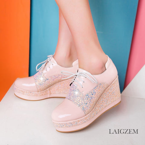 LAIGZEM SUPER Women Sneakers Round Toe Bling Sequined Platform Wedge Heels Casual Shoes Thick Bottom Woman Small Big Size 33-48 - shoescraze