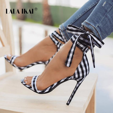 LALA IKAI Scottish Plaid High Sandals Women Cross-Tied Heels Ladies Ankle Strap Lace Up Party Bow High Shoes 014C1880-3 - shoescraze