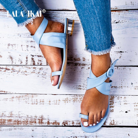 LALA IKAI Women Casual Summer Shoes PU Leather Solid Color Buckle Strap Low Heels Ladies Sandals Chaussures Femme 014A3250-4 - shoescraze