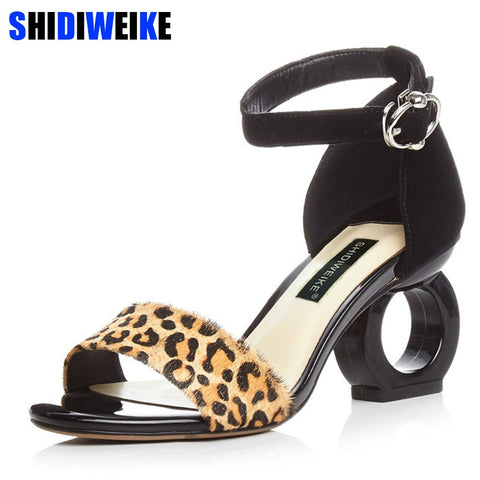 Leopard Sheepskin Fashion Brands Sandals Horse Hair Strange Style Buckle Strap Party Pumps Yellow Sexy Ankle Strap Woman Shoes - shoescraze