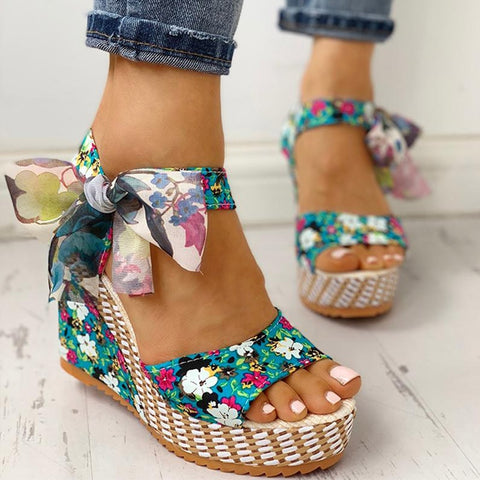 MCCKLE Women Summer Wedge Sandals Female Floral Bowknot Platform High Heel  Fashion Bohemian Ankle Strap Open Toe Ladies Shoes - shoescraze