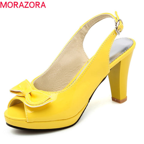 MORAZORA 2020 hot sale women sandals sweet peep toe party wedding shoes simple buckle summer shoes platform high heels shoes - shoescraze