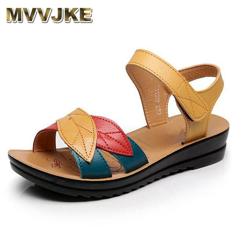 MVVJKE  summer new mother sandals soft bottom anti-skid middle-aged fashion Woman sandals flat comfortable women's shoes - shoescraze