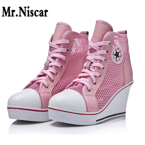 Mesh Shoes Women Wedges Badge High Top Platform Shoes Woman White Black Casual Trainers Elevator Shoe High Heels Zapatos Mujer - shoescraze