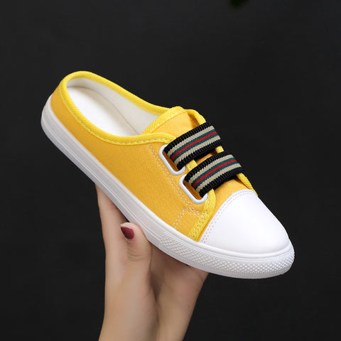 New 2019 Korean Low Top Women Canvas Shoes Flat White Sneakers Women Casual Shoes Summer Slipper Women Shoes Elastic Band Light - shoescraze