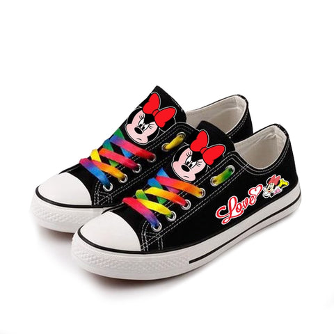 New Cute Mickey Mous Women Girls Kids Canvas shoes Sneakers for Teenagers Printing Cartoon shoes Casual Sports Shoes - shoescraze