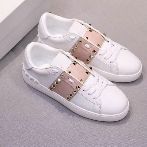 OLOMM 2019 spring new small white shoes female sponge cake thick bottom belt sports rivet white casual shoes LL-195 - shoescraze