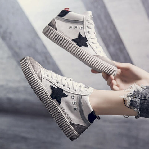 Paraiso Women's High Top  Distressed Italy Sneakers  Classic Two Tone Star Lace up Fashion Flat Board Shoes - shoescraze