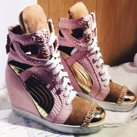 Patchwork Height Increasining Women Casual Shoes Wedges Sneakers Genuine Leather Metal Toe Pink Lace Up Platform Shoes Women - shoescraze