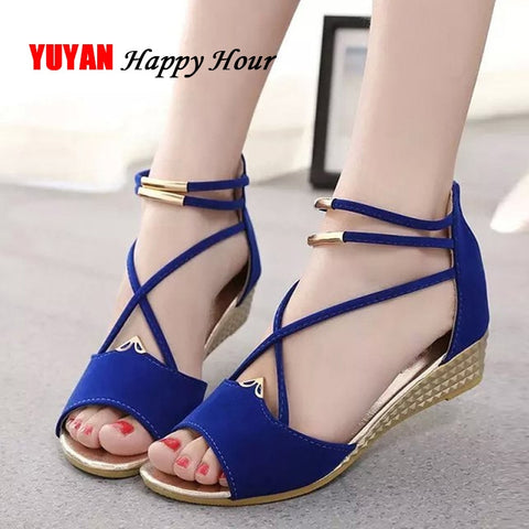 Peep toe Sandals Women Summer Shoes 2019 Women Wedges Sandals Fashion Summer Ladies Wedge Shoes Woman Sandal Black Red Blue A679 - shoescraze