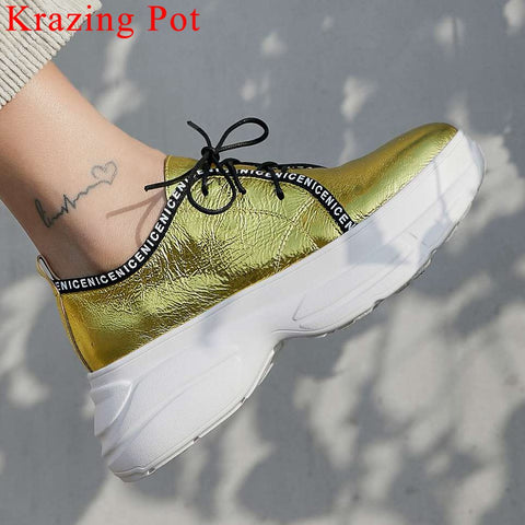 Rock girls genuine leather sneakers lace up round toe high thick bottom platform concise style breathable vulcanized shoes L8f3 - shoescraze