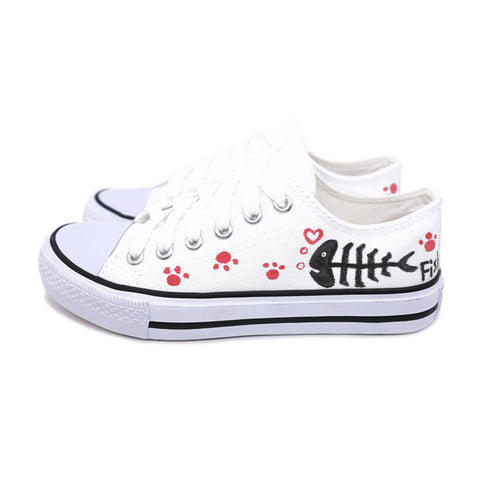 S.Romance 2018 women vulcanized sneakers Plus Size 35-45 new fashion flats hand-painted casual white students shoes woman SF009 - shoescraze