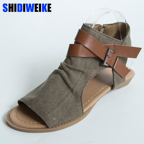 SHIDIWEIKE 2019 Womens Summer Sandals Canvas Peep Toe Shoes Open Toe Lace-up Flats Beach Casual Flip Flops m433 - shoescraze