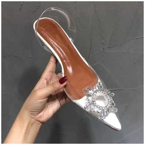 SUOJIALUN 2019 New Brand Women Sandal Fashion Sun Flower Crystal PVC Transparent Women Mules Slides Low Heel Elegant Sandal - shoescraze