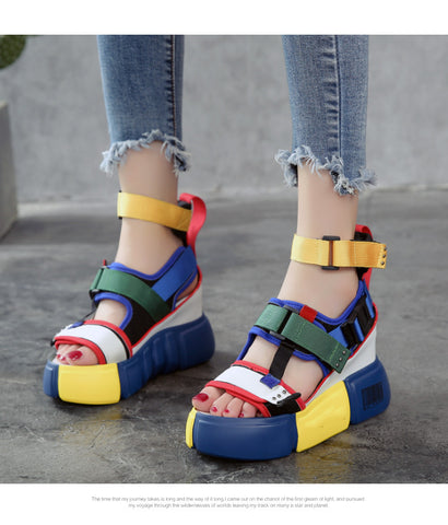 SWONCO Platform Sandals Women Summer Shoes 2019 Female Casual Shoes Wedge High Top High Heel Chunky Sandals For Woman Size 10 41 - shoescraze