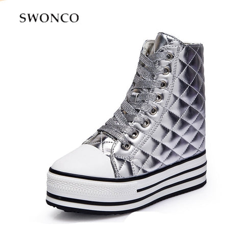 SWONCO Shoes Women Platform Wedge Vulcanize Sneakers For Woman 2019 Spring New High Top Female Casual Shoes Sneakers Sliver 12cm - shoescraze