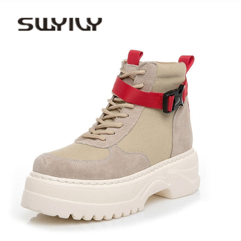SWYIVY High Top Ladies Shoe Ankle Belt Women Sneakers 2019 Autumn Casual Shoes Woman Genuine Leather Platform Sneakers For Women - shoescraze