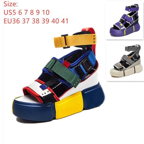 SWYIVY Shoes Women Sandals Platform 2019 Female Blue Shoes Casual Summer Sandals Wedge Chunky High Heel Sandal Rome Ankle Belt - shoescraze