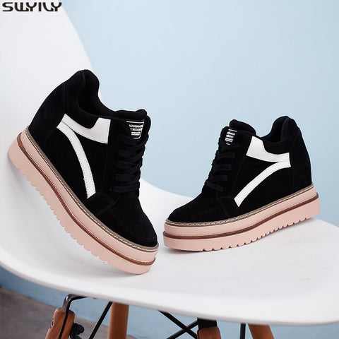 SWYIVY Winter Shoes Women Platform Sneakers Black Wedge Casual Shoes Female 2019 Velvet Warm Chunky Heels Sneakers For Women - shoescraze