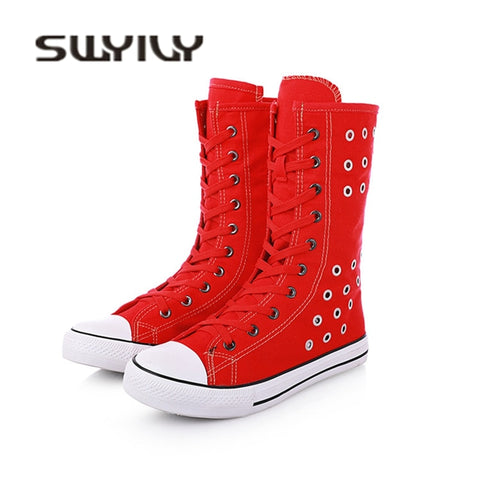 SWYIVY Woman Vulcanize Sneakers High Top Rivet Hallow Breathable 2018 Autumn Female Casual Shoes Zipper 43 Plus Size Sneakers - shoescraze