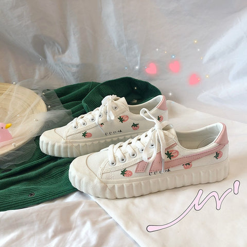 School Girl Strawberry Low Top Sneakers Sweet Canvas Flat White Shoes - shoescraze