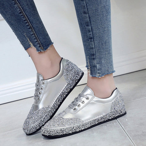 Spring Women Crystal Flats Golden Silver Vulcanize Shoes Lace Up Rhinestone Bling Sewing Casual Shoes Female Fashion Footwears - shoescraze