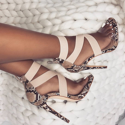 Stretch Fabric Women Sandals Gladiator Ankle-Wrap High Heels Shoes Fashion Summer Ladies Party Pumps Shoes Black Apricot - shoescraze