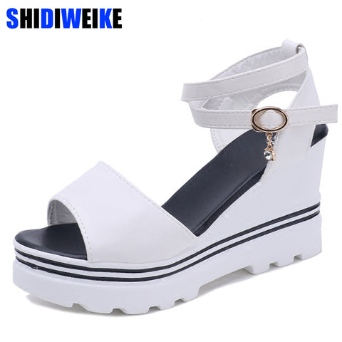 Summer Korean muffin fish head women sandals with platform sandals wild simple shoes shook with students in m698 - shoescraze