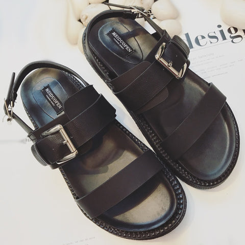 Summer Platform Shoes Fashion Buckle Strap Women Sandals Casual Platform Sandals Black Pu Outdoor Womens Sandals Punk Shoes - shoescraze
