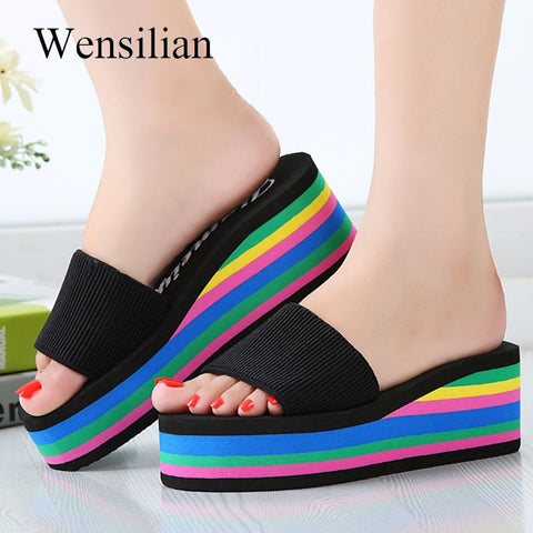 Summer Sandals Women Wedges Platform bath Slippers Beach Flip Flops Rainbow Thick Heel Ladies Colourful Shoes Zapatos Mujer - shoescraze