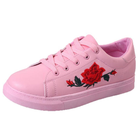 Summer Shoes Woman PU Leather Casual Shoes Flat Platform Sneakers Women Embroidery Rose Ladies Shoes Autumn Zapatillas Mujer - shoescraze