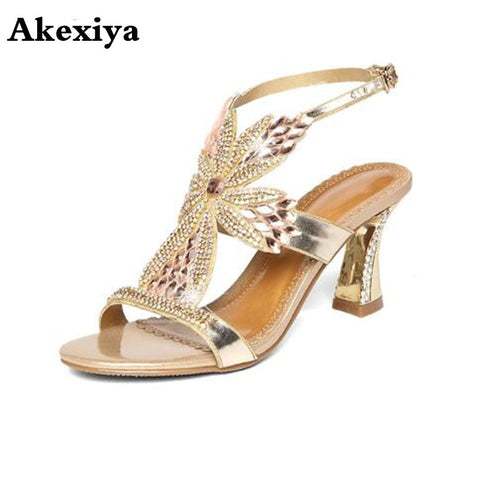 Summer new female sandals diamond stiletto heel leather sexy wedding peep-toe shoes Bohemian fashion women's shoes - shoescraze