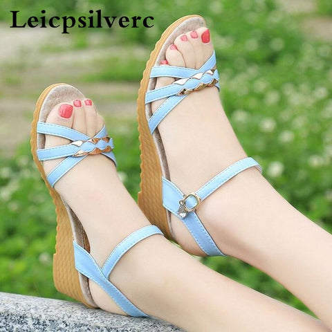 Summer new style women's shoes with toe thick bottom flat bottom comfortable and anti slippery mother shoes - shoescraze