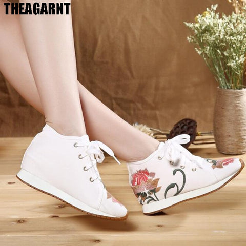 THEAGRANT 2019 vintage floral women sneakers lace up embroidered casual shoes height increasing hidden wedge shoes WSN3000 - shoescraze