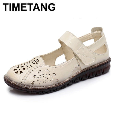 TIMETANG  Summer Shoes Woman Genuine Leather Soft Outsole Closed Toe Sandals Casual Flat Women Shoes New Fashion Women Sandals - shoescraze