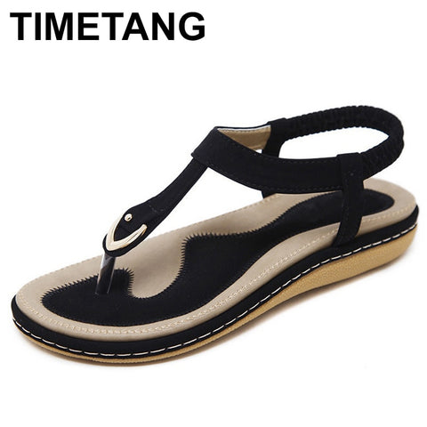 TIMETANG summer shoes women bohemia beach flip flops soft flat sandals woman casual comfortable plus size wedge sandals  C065 - shoescraze