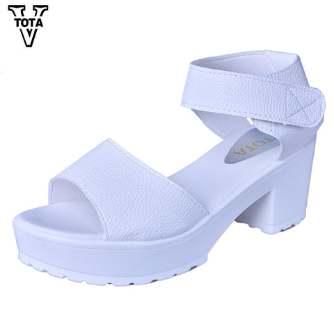 VTOTA Fashion Women Sandals Summer Shoes Wedges Open Toe Thick Heel Mujer Soft PU Women Platform Sandals High-Heeled Shoes Woman - shoescraze