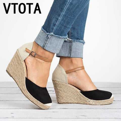 VTOTA Platform Wedges Sandals 2018 Cover Heel Flock Gladiator Buckle Strap Mixed Colors Summer Shoes Woman Sandalias Mujer H152 - shoescraze