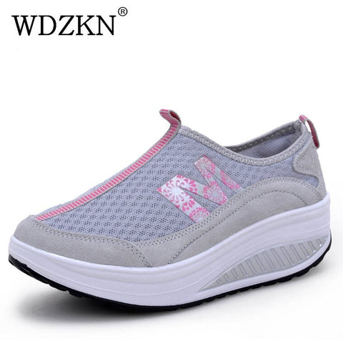 WDZKN Women Casual Shoes Lightweight Slip On Wedge Platform Sneakers Women Breathable Air Mesh Summer Swing Shoes Tenis Feminino - shoescraze