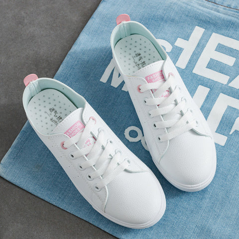 White shoes woman 2019 new fashion pu leather casual women shoes breathable female shoes tenis feminino lace-up sneakers women - shoescraze