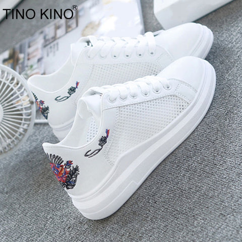Women Flat Mesh Vulcanized Summer Ladies Embroidered Lace Up Walking White Shoes Female Fashion Breathable Casual Footwear - shoescraze