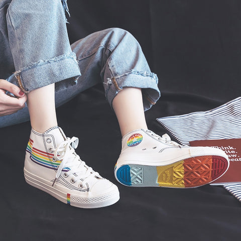 Women Rainbow Shoes High Up Lacing Girls White Sneakers Colorful 2019 Summer New Students Casual Shoes Zapatillas Lona Mujer - shoescraze